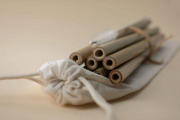 pajitas de bambu reutilizables